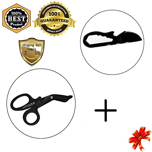 MeanHoo Combination of Gadgets Mini Multi-function Tool Knife & Heavy Duty Military style Medical First Aid Bandage Trauma EMT/Paramedic Shears/Scissors