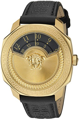 Versace-Womens-Dylos-Icon-Swiss-Quartz-Stainless-Steel-and-Black-Leather-Casual-Watch-Model-VQU020015