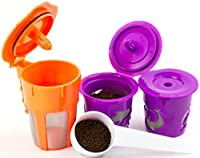 Keurig 2.0 K-Carafe Reusable Coffee Filter and Single Refillable K-Cup 4 piece Bundle Gift Set with Coffee Scoop for K200, K300, K400 and K500 series