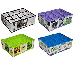Lifestyle-You (Pack of 4) Foldable Drawer Organiser Box with 12 Partitions in Each for Innerware, Lingerie, Socks, Ties, Cosmetic Etc