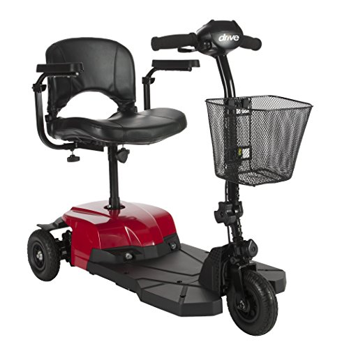 Drive Medical Red Bobcat X3 3 Wheel Compact Transportable Scooter, Black
