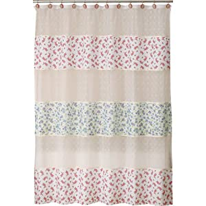 Allure Home Creations Vintage Lace Poly Linen Printed Shower Curtain