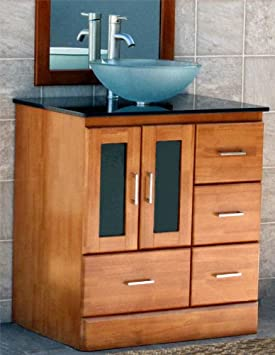 "30"" Bathroom Vanity Cabinet black granite top Sink Faucet M10/12F-Cinnamon finish"