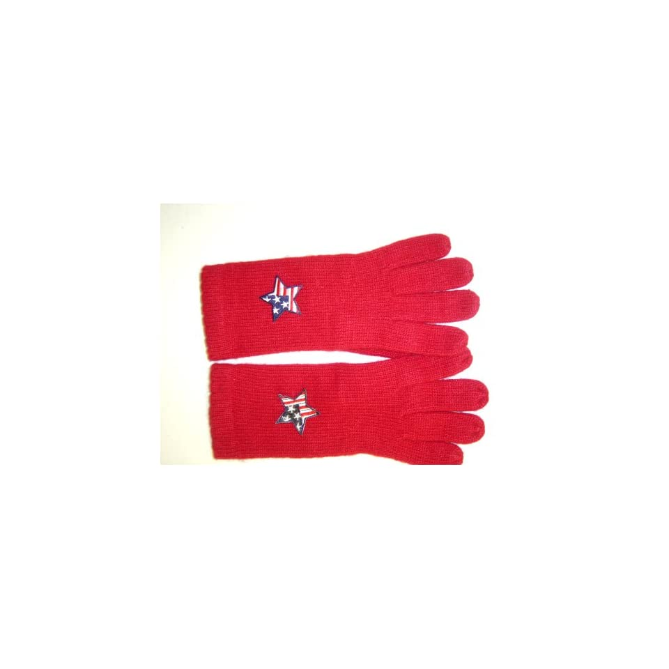 G242, Red Angora Wool Gloves Trimmed with Star American Flag for Men Women and Teens