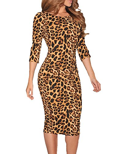 Sexy Ladies Leopard Low V Back Long Sleeve Formal Cocktail Party Midi Dress Large