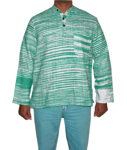 Designed Mens Casual Cotton Khadi Short Kurta Size L