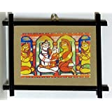"""Dolls Of India """"Lord Shiva, Parvati And Ganesha - Wall Hanging"""" Jamini Roy Reprint On Paper - Wooden Frame Without..."""