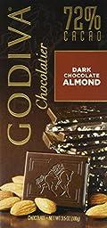 Godiva 72% Dark Almonds Bar 100g (5-pack)