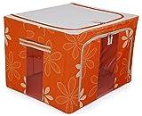 #3: Para Foldable Wardrobe Storage Box Steel Frame Organizer for Shirts Sarees Clothes, Orange