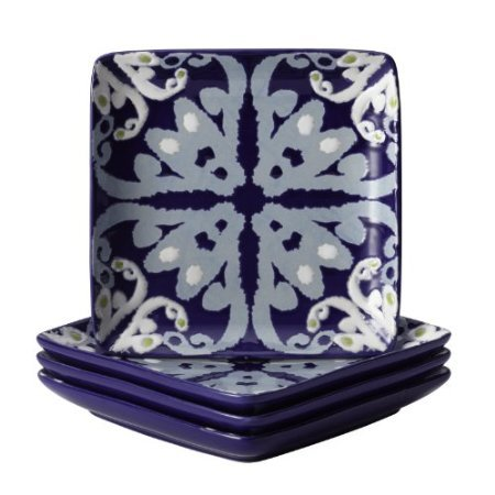 Rachael Ray Dinnerware Ikat Collection Square Appetizer Plate Set, 6-Inch, Blue, Set Of 4