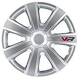 4 Radkappen Radzierblenden VR Silver/Carbon-Look 15