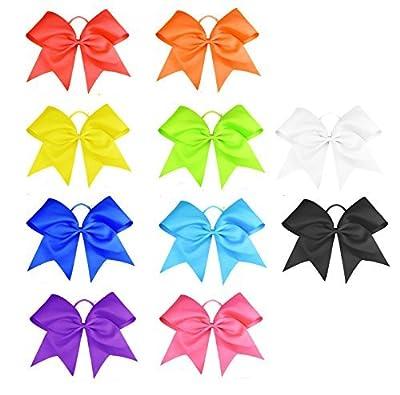 "HipGirl Girls Women 6"" Jumbo Cheer Bow Pony Holder-High School College Cheering Cheerleader Uniform"