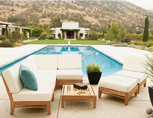 Delmar Grade A Teak Wood Luxurious 7pc Sectional Sofa Set