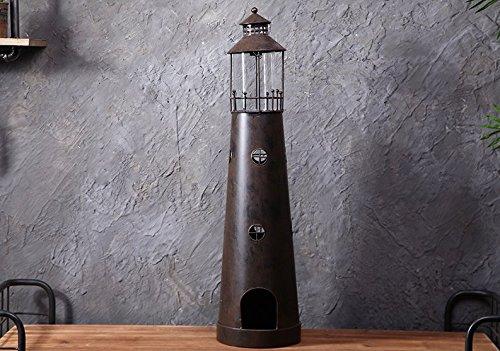 Lx.AZ.Kx Los países nórdicos Retro Inicio Arte modelo de faro de hierro adornos adornos artesanales velas muebles Salón Creativa Studyb)