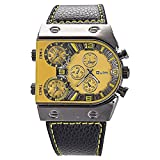 Mudder OULM Mens Oversize 3 Time Zone Military Sport Leather Quartz Watch Yellow