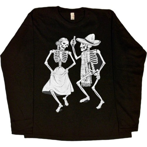 WOMENS LONG-SLEEVE T-SHIRT : BLACK - X-LARGE - Dancing Skeletons - Day of the Dead