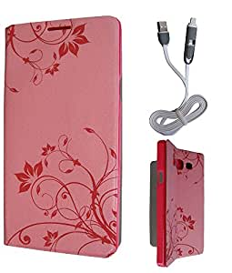 FrossKin Flip Cover + 2in1 High Speed White Data Cable For Apple iPhone 6 Light Pink