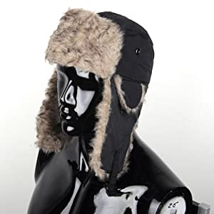 Hotportgift Mens Earflap Russian Trapper Trooper Bomber Winter Snow Ski Faux Fur Hat Cap (Black)