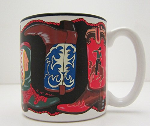 Boots Cowboy Cowgirl Country Western Two Steppin' Colorful Coffee Cup Mug 1993