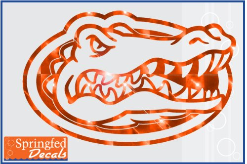 "Florida Gators Orange Mirror Vinyl Gator Head Logo 12"" Vinyl Decal Car Truck Window Uf Sticker"