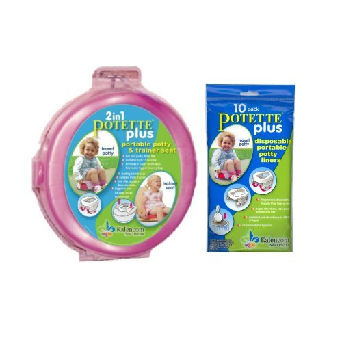 Kalencom 2-in-1 Potette Plus Pink Traval Potty w/ 10 Potty Liner Re-fills - 1