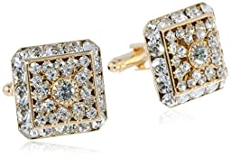 Stacy Adams Men\'s Multi Crystal Cuff Link, Gold, One Size