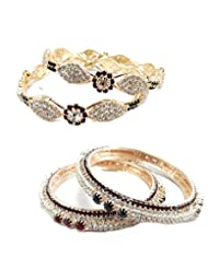 Aria Party Wear Maroon Green CZ Gold Plated Buy 1 Get 1 4pc Bangle C28