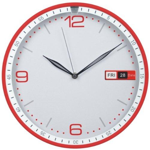 JustNile Modern Minimalist Round Wall Clock - 12-inch Red Calendar