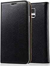 [Genuine Leather] [Samsung Galaxy S5 Wallet Case]- iXCC ® [Stand Feature] [Classic Vintage Elegant Look] Premium Ultra Slim with Stand Flip Cover , Protective Soft Geniune Leather [Book Style] Folio Wallet Case - for Samsung Galaxy S5 Late 2014 Model [Black]