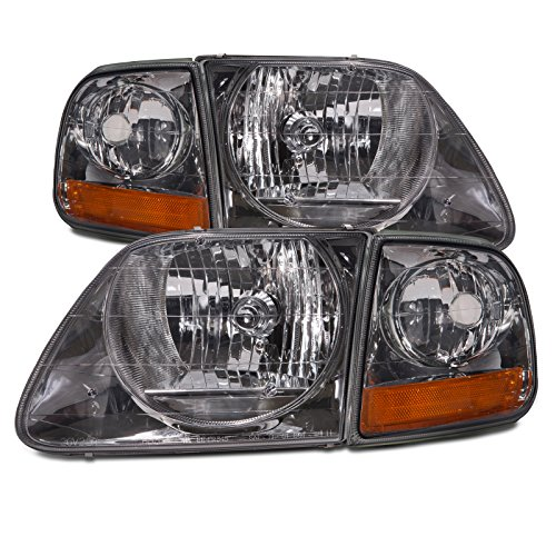 F150 Chrome Light smoke lens 4 pc Lightning Headlights built after 7/96 (1999 Ford F150 Lightning compare prices)