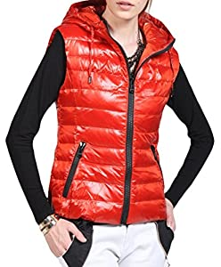WXSnow Women's Fashion Casual Slim Fit Hoodie Vest Down Elegant Outwear Red 2XL