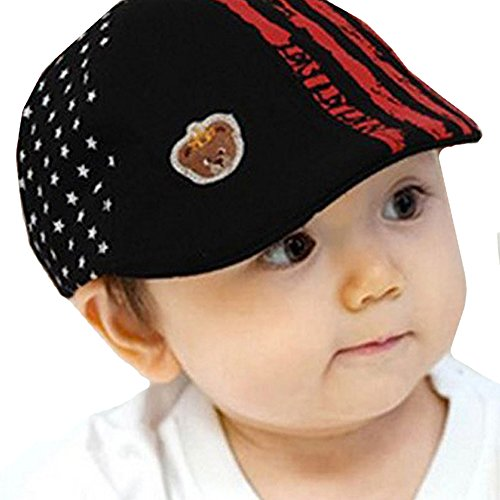 LOCOMO Children Kid Boy Girl Cute Striped Stripe Star Vintage Flat Cap FBH002BLK