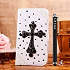 Locaa(TM) Apple IPod touch 5 Itouch5 3D Bling Case + Phone stylus + Anti-dust ear plug Deluxe Luxury Crystal Pearl Diamond Rhinestone eye-catching Beautiful Leather Retro Support bumper Cover Card Holder Wallet Cases - [General series] cross