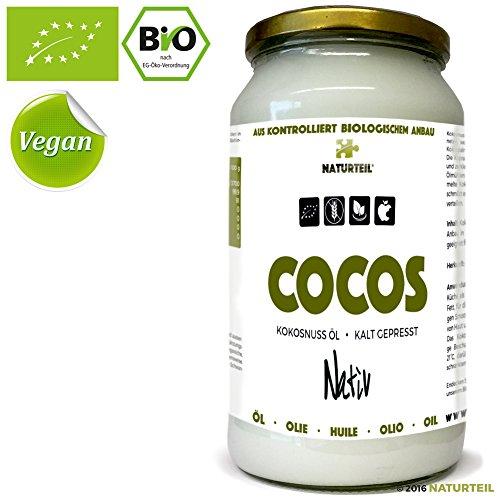 NATURTEIL - BIO KOKOSÖL - Nativ | Kaltgepresst, Glutenfrei, Rohkost, Coconut Oil Organic, Raw, Vegan - 1000ML
