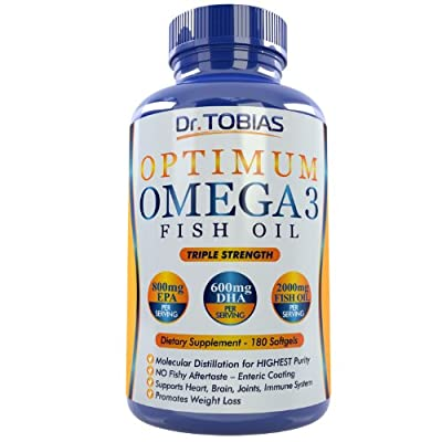Omega 3 Fish Oil Pills (180 Counts) - Triple Strength Fish Oil Supplement (1,400mg Omega 3 Fatty Acids: 600mg DHA + 800 mg EPA per Serving) - Burpless Capsules with Enteric Coating And Pharmaceutical Grade Essential Fatty Acids - Molecularly Distilled Fis
