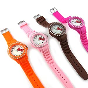 4 designer watches 'Hello Kitty'pink orange brown pink.