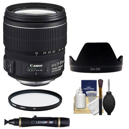 Canon Ef-S 15-85Mm F/3.5-5.6 Is Usm Zoom Lens + Ew-78E Hood + Uv Filter + Accessory Kit For Eos 60D, 7D, Rebel T3, T3I, T4I Digital Slr Cameras