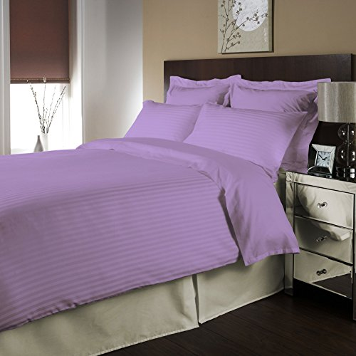 Twin Size 100% Egyptian Cotton 8 Piece Bed In A Bag Collection 500 Thread Count Stripe-Lavender Created By Fantasy Nap