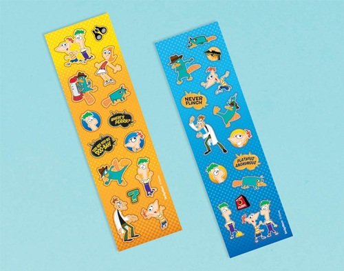 "Amscan Phineas and Ferb Sticker Strip Favor Fun Pack (8 Piece), 6-5/16 x 1-7/8"", Multicolored"