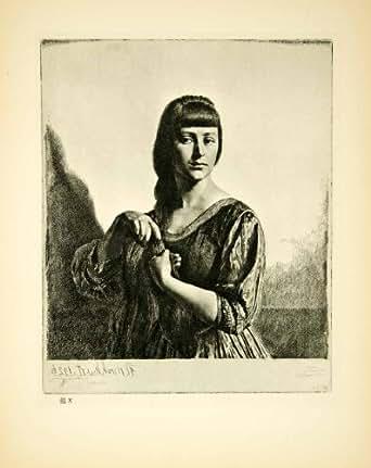 Amazon.com: 1928 Photogravure Gerald L Brockhurst Tresse Portrait Girl