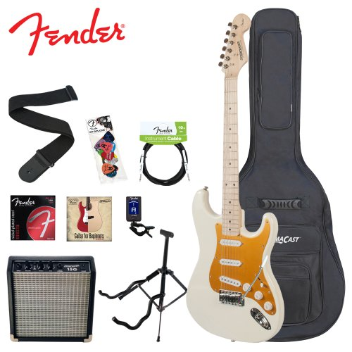 Fender Starcaster JF-028-0002-580-KIT-3 Classic Vanilla Cream White Electric Guitar with Stand, Strap, Strings, Bag, DVD, Tuner, Picks, Cable and 15W Amplifier