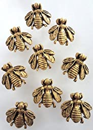15 Antique Gold Bumble Bee Push Pins - Electroplate Finish -T-20AG