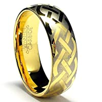 7MM 18K Gold Plated Tungsten Ring with Laser Etched Celtic Design Size 10