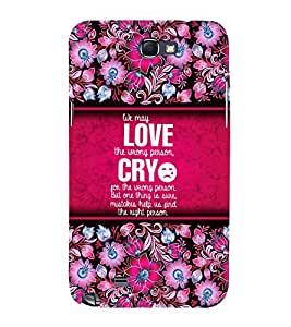 Love Quotation 3D Hard Polycarbonate Designer Back Case Cover for Samsung Galaxy Note 2 :: Samsung Galaxy Note 2 N7100