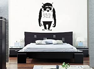 banksy laugh now monkey wandtattoo wandaufkleber wall sticker decals mittel60 cm x 30 cm amazon. Black Bedroom Furniture Sets. Home Design Ideas