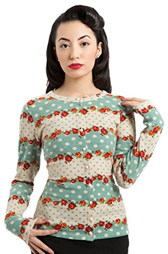 Voodoo Vixen - Red Rose and Polka Dot Cardigan L