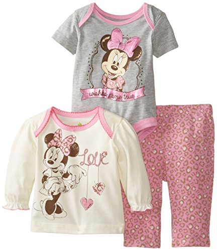 Disney Baby Baby-Girls Minnie Mouse 3 Piece Pant Set, Multi, 6/9 Months front-417757
