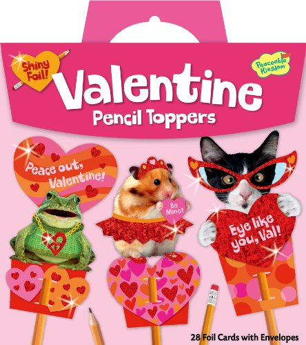 Cheapest Prices! Peaceable Kingdom / Shiny Animal Pencil Toppers Super Valentine Card Pack