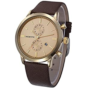 Dreaman 1PC Fashion Men Casual Waterproof Date Leather Watch Gold