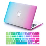 "Macbook Air 13 Case, Dealgadgets Plastic Hard Shell Case Cover for 2014 New Macbook Air 13"" 13.3"" A1369 & A1466 with Silicone Keyboard Cover Skin Stickers Protector Rainbow"